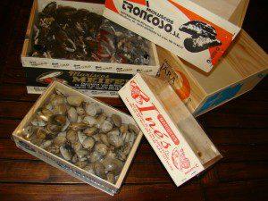 Cajitas de madera para Moluscos y Mariscos